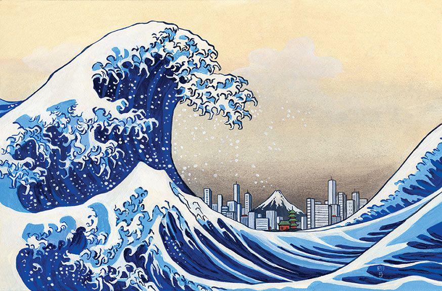 День, японские волны рисунок